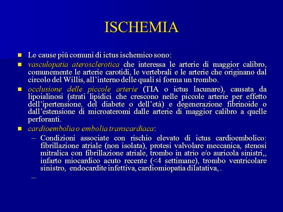 ISCHEMIA Le cause più comuni di ictus ischemico sono:
