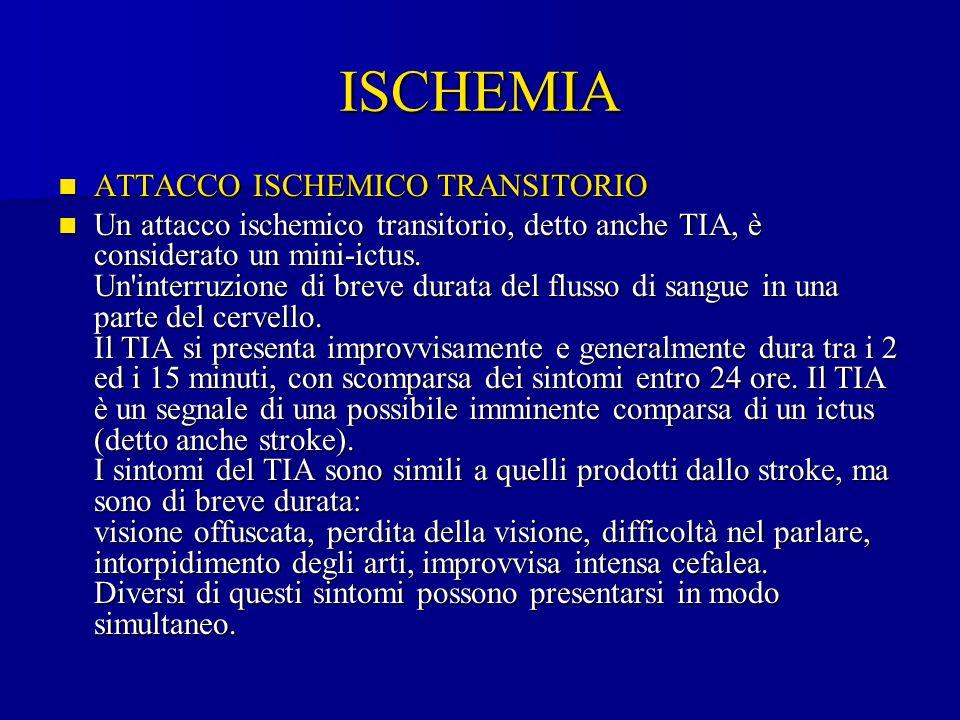 ISCHEMIA ATTACCO ISCHEMICO TRANSITORIO