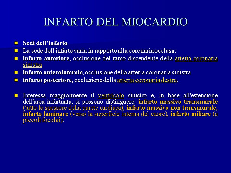 INFARTO DEL MIOCARDIO Sedi dell infarto