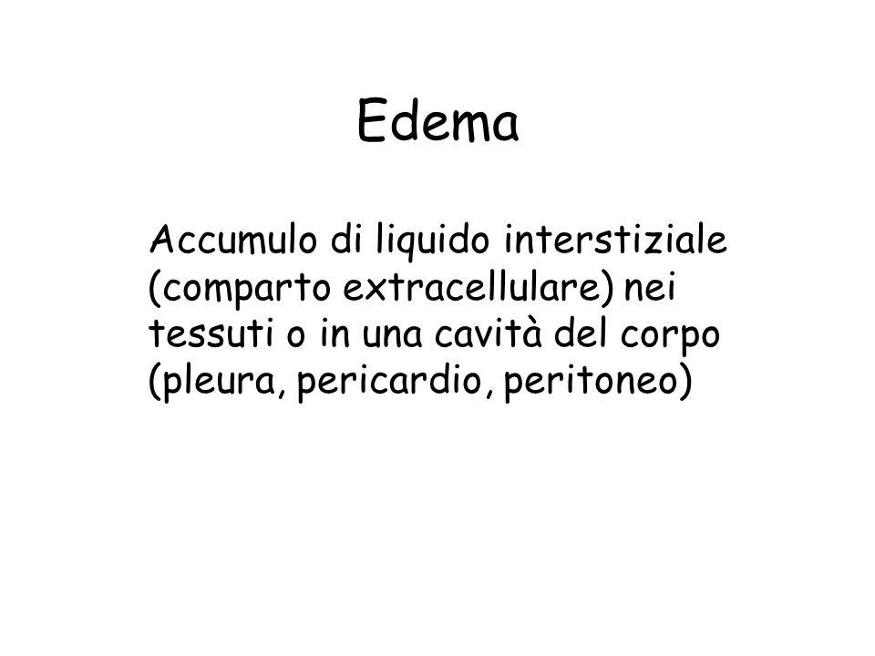Edema Accumulo di liquido interstiziale (comparto extracellulare) nei tessuti o in una cavità del corpo (pleura, pericardio, peritoneo)