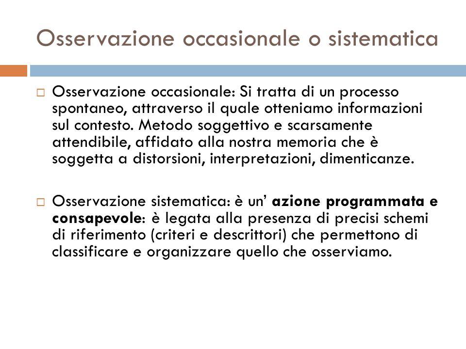 Osservazione occasionale o sistematica