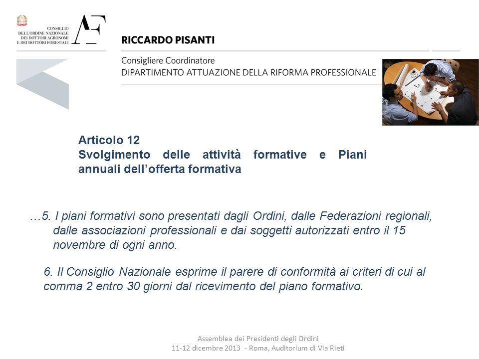 Articolo 12 Svolgimento delle attività formative e Piani annuali dell'offerta formativa.