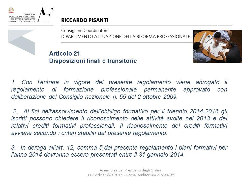 Disposizioni finali e transitorie