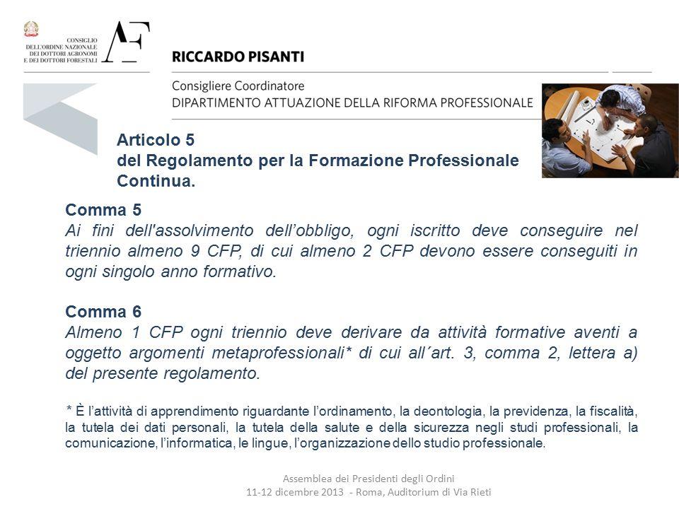 del Regolamento per la Formazione Professionale Continua.