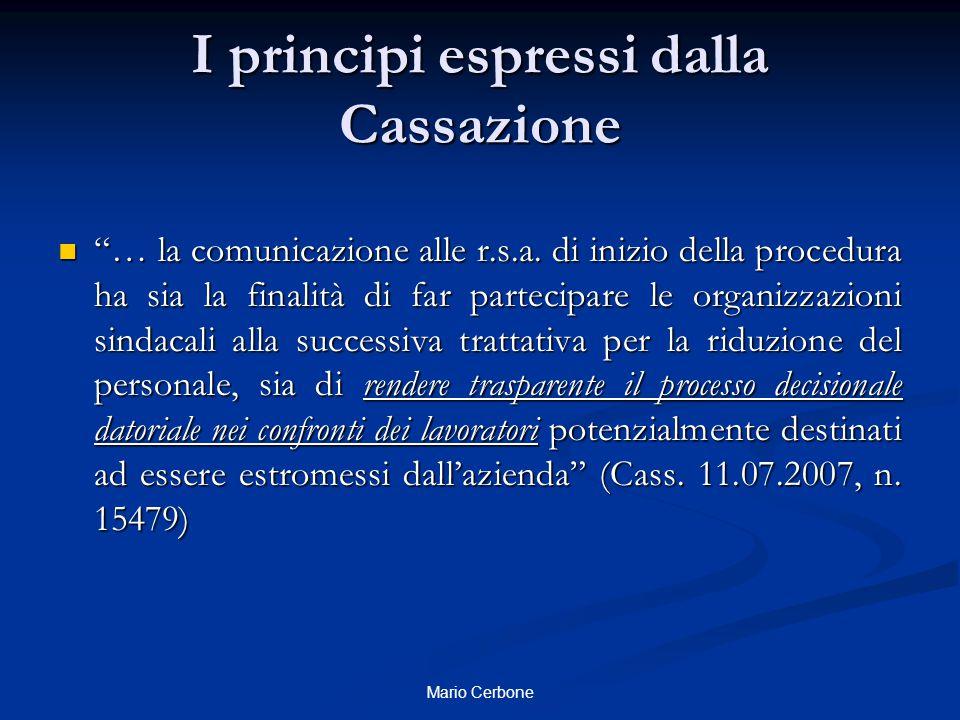 I principi espressi dalla Cassazione
