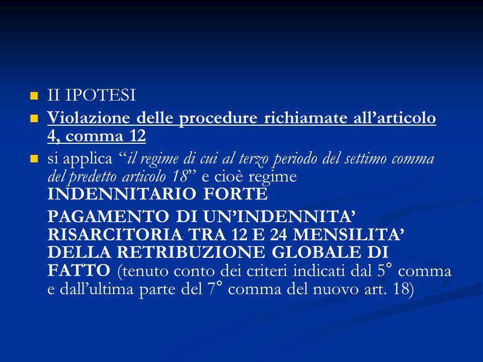 II IPOTESI Violazione delle procedure richiamate all'articolo 4, comma 12.