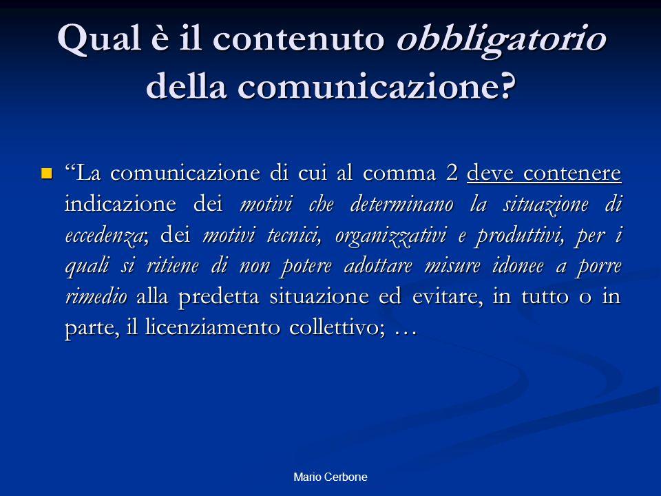 Qual è il contenuto obbligatorio della comunicazione