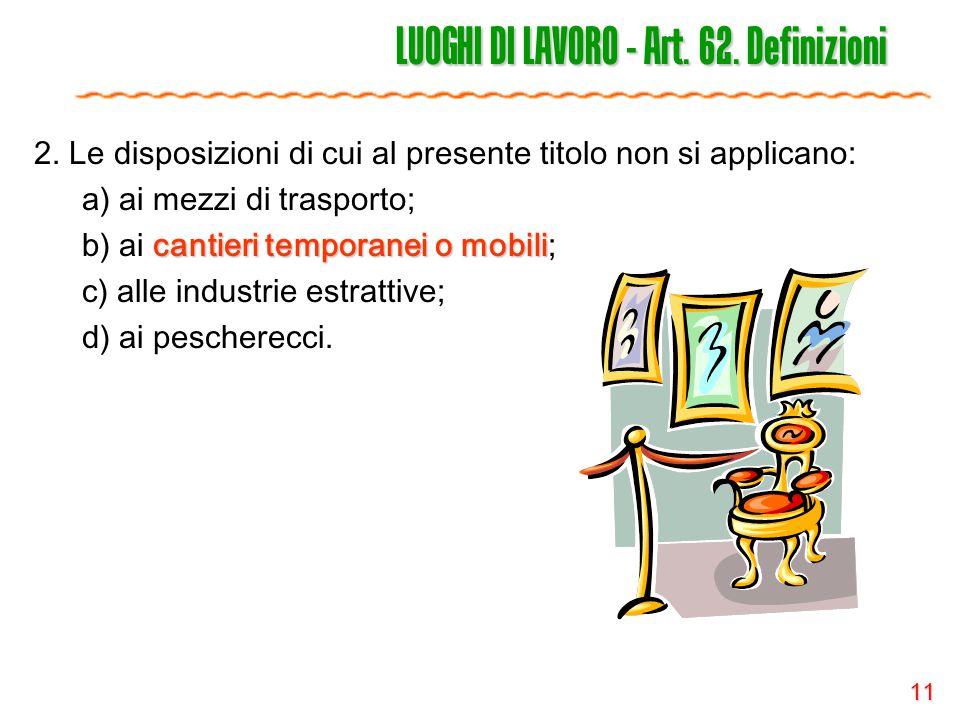 LUOGHI DI LAVORO - Art. 62. Definizioni