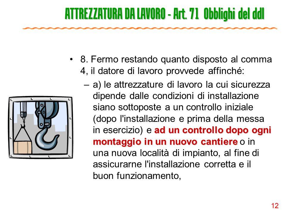 ATTREZZATURA DA LAVORO - Art. 71 Obblighi del ddl