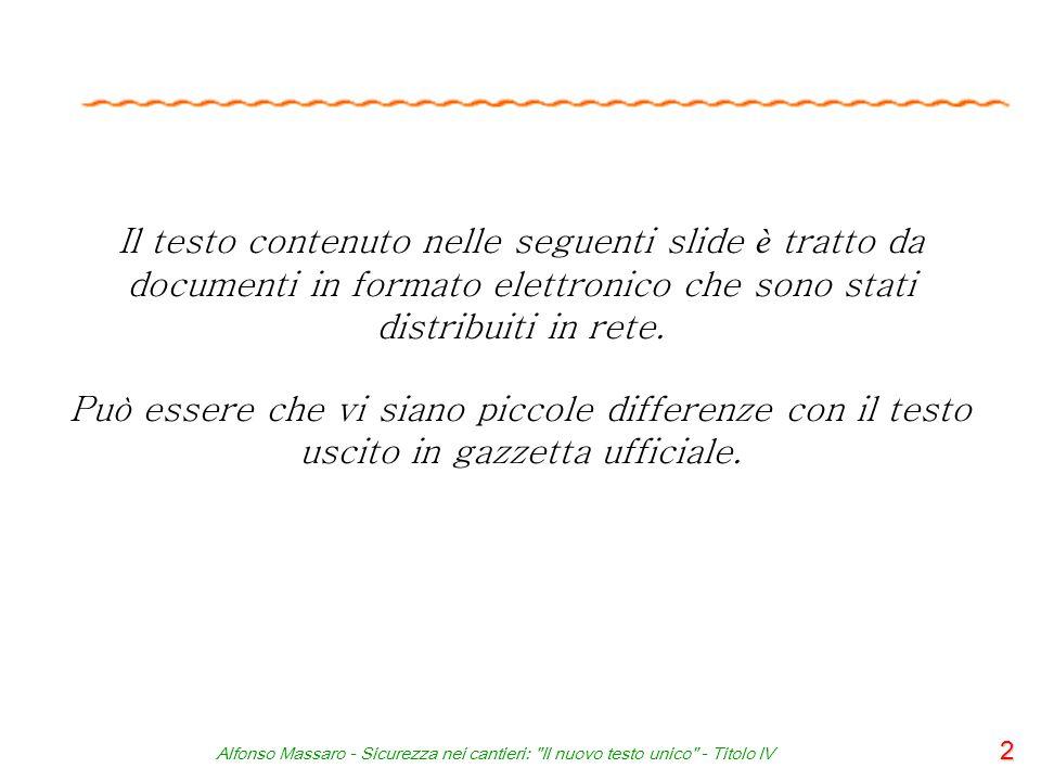 Il testo contenuto nelle seguenti slide è tratto da documenti in formato elettronico che sono stati distribuiti in rete.
