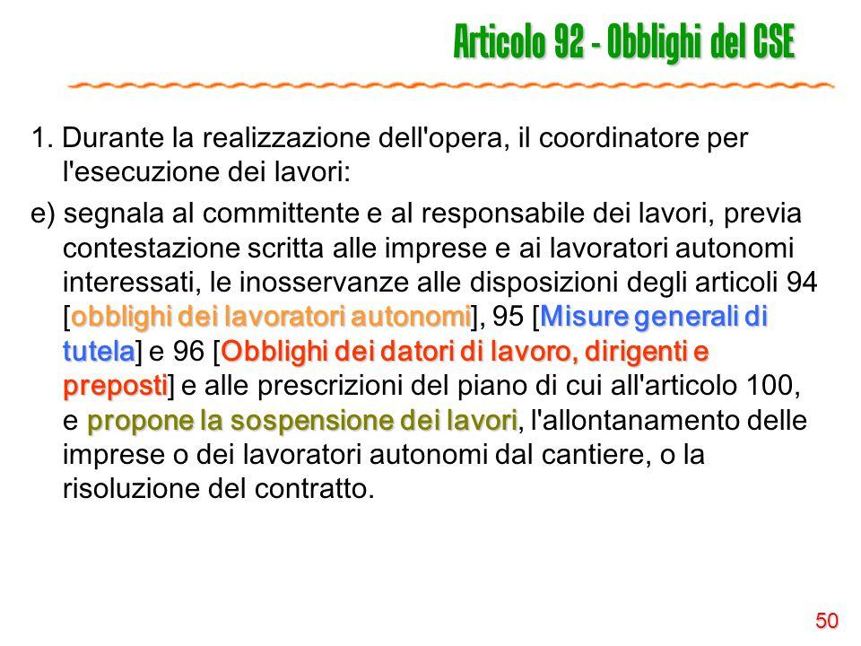Articolo 92 - Obblighi del CSE