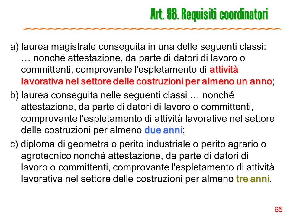 Art. 98. Requisiti coordinatori