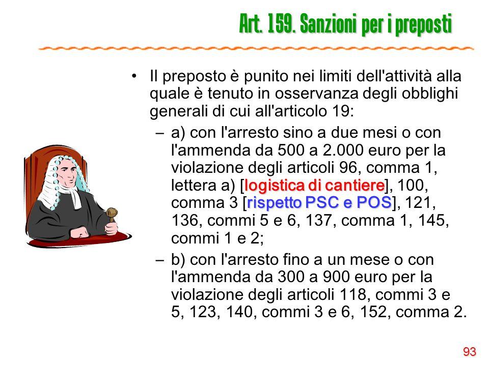 Art. 159. Sanzioni per i preposti