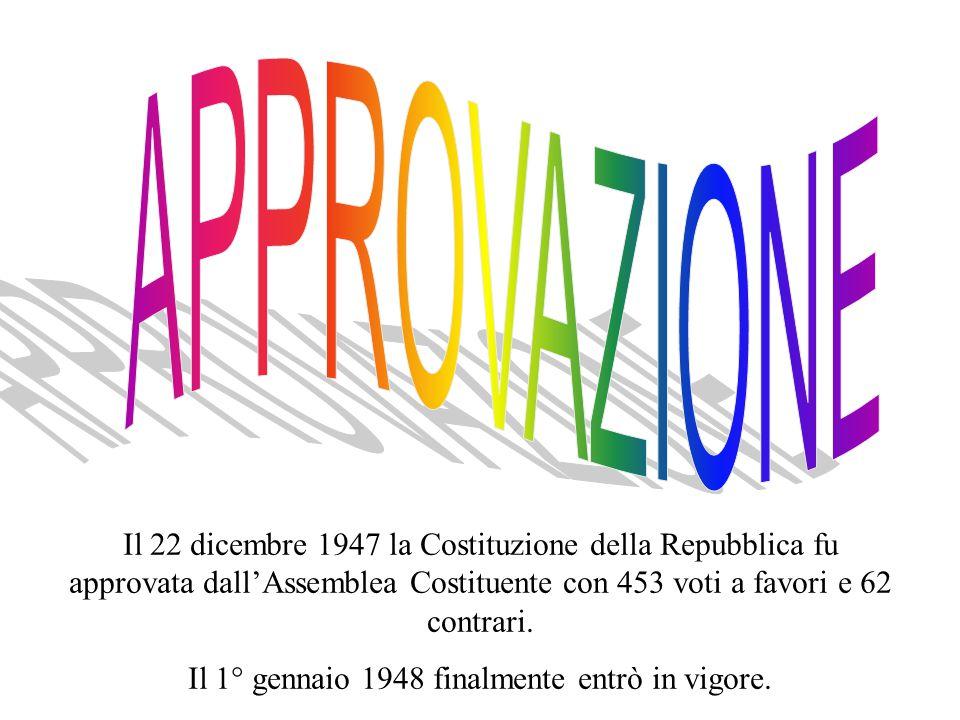 Il 1° gennaio 1948 finalmente entrò in vigore.