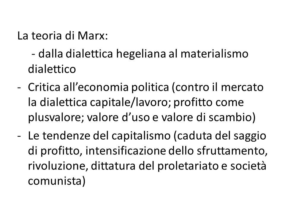 La teoria di Marx: - dalla dialettica hegeliana al materialismo dialettico.