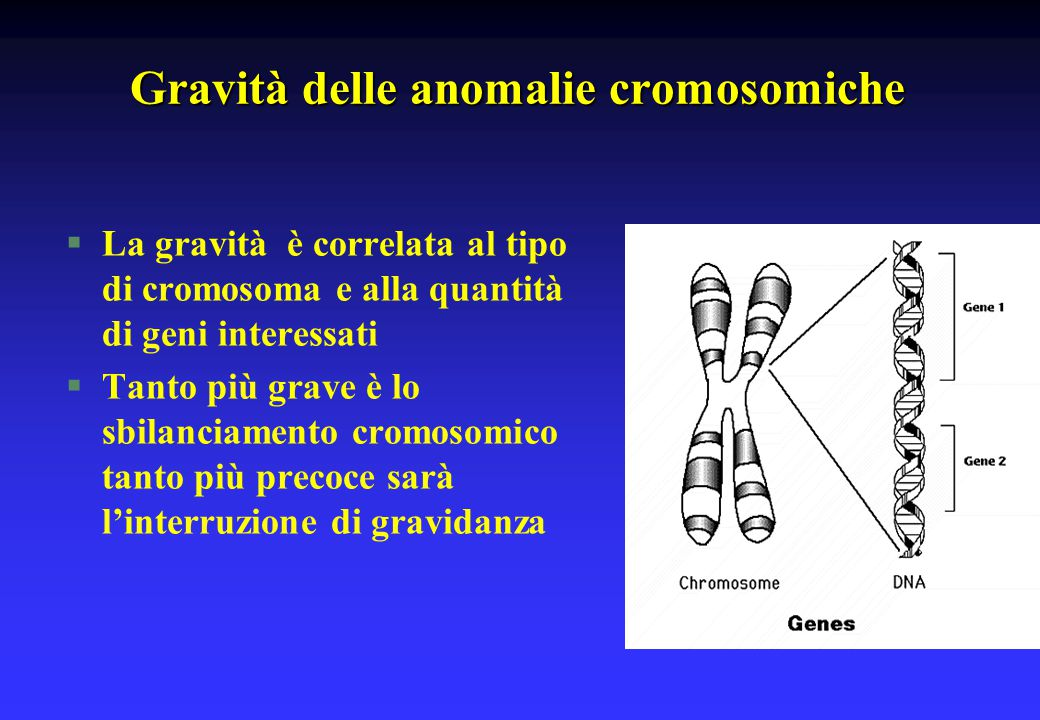 Gravità delle anomalie cromosomiche
