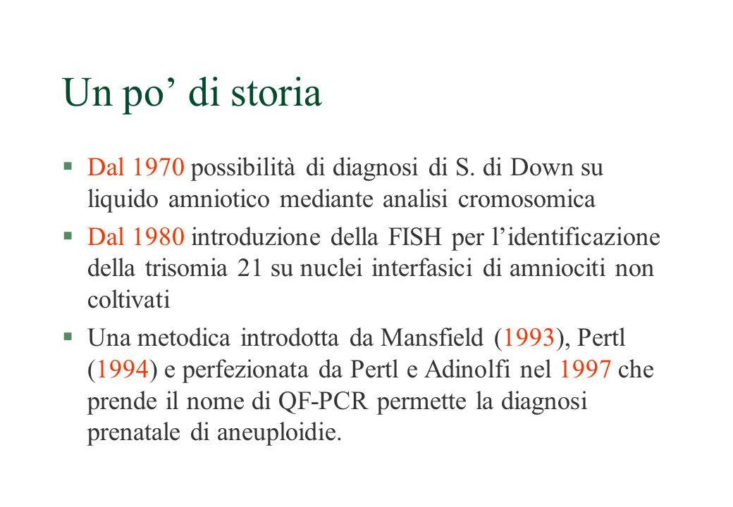 Un po' di storia Dal 1970 possibilità di diagnosi di S. di Down su liquido amniotico mediante analisi cromosomica.