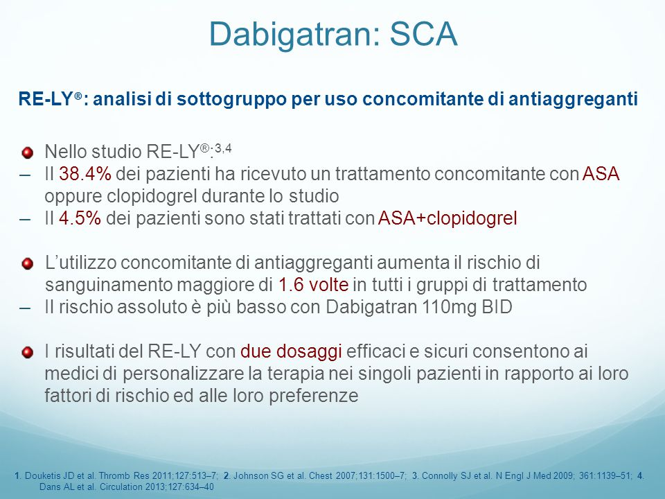 RE-LY®: analisi di sottogruppo per uso concomitante di antiaggreganti