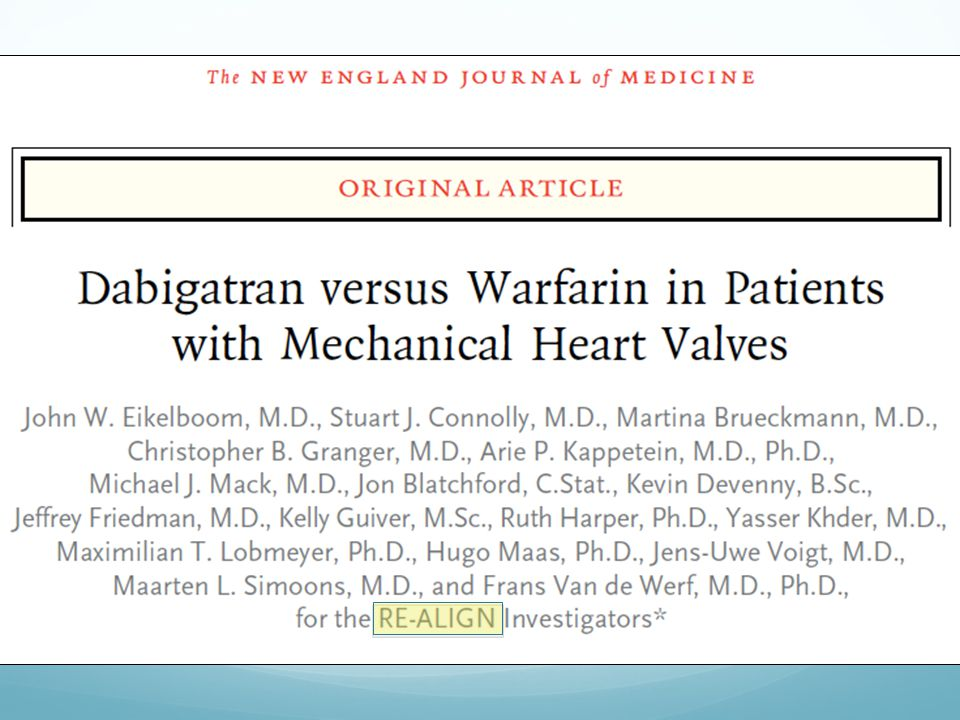 Tre dosaggi in base a cl cr 150x2, 220x2, 300x2 fino a raggiungere dosaggio ematico di dabigatran pari a 50 ng (dosaggio efficace nel rely). Due gruppi: popolazione A ha iniziato D entro una sett dall'intervento, popol B ha iniziato D a 3 mesi dall'intervento. Gli eventi ischemici cerebrali e le emorragie maggiori (emopericardio) sono stati nella popolaz A. Anche se TIA e sanguinam minori sono stati maggiori nella popolaz B vs Warfarin