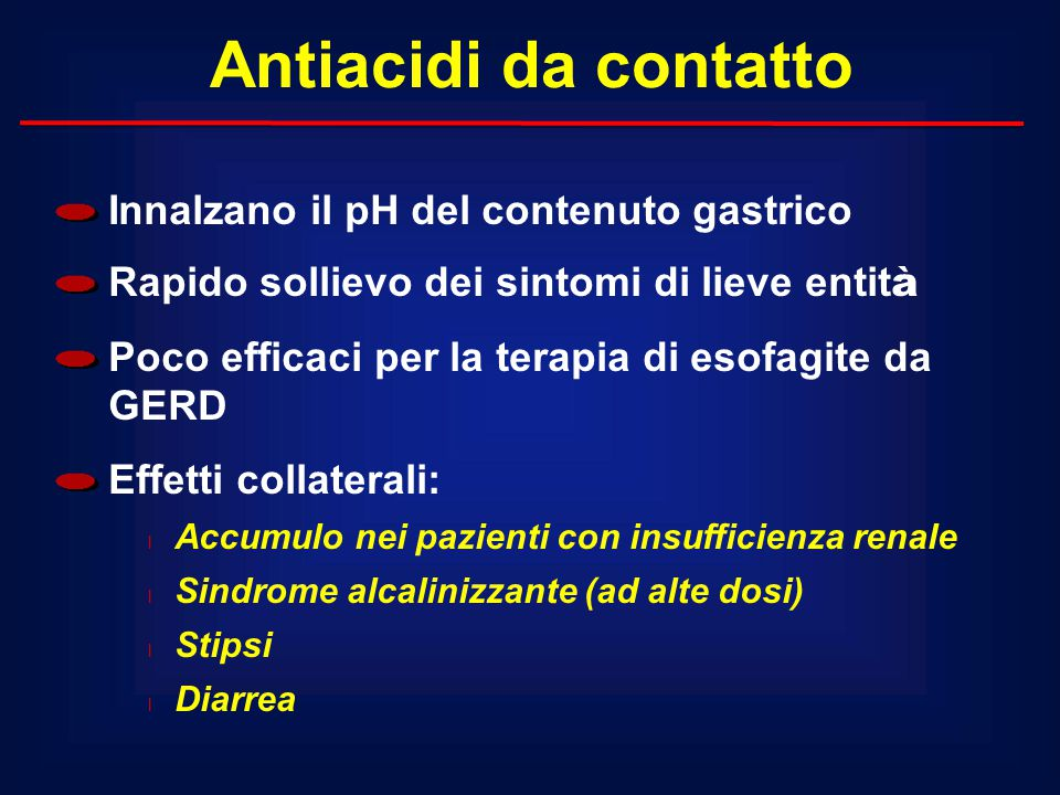 Antiacidi da contatto Innalzano il pH del contenuto gastrico