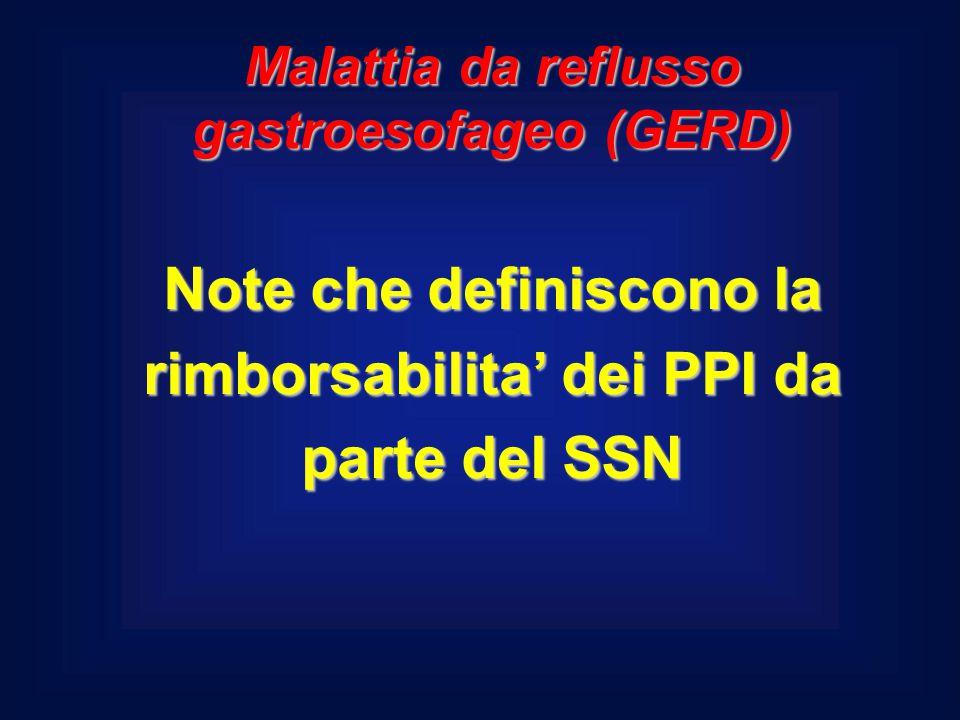 Note che definiscono la rimborsabilita' dei PPI da parte del SSN