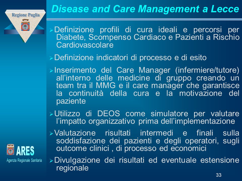 Disease and Care Management a Lecce