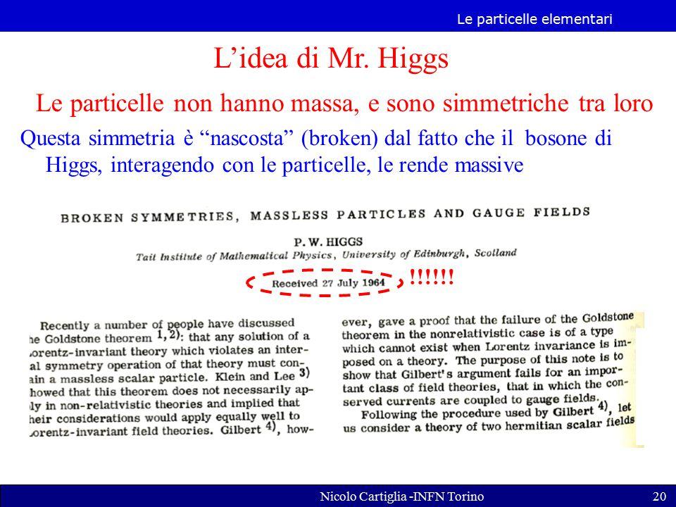 L'idea di Mr. Higgs Le particelle non hanno massa, e sono simmetriche tra loro.