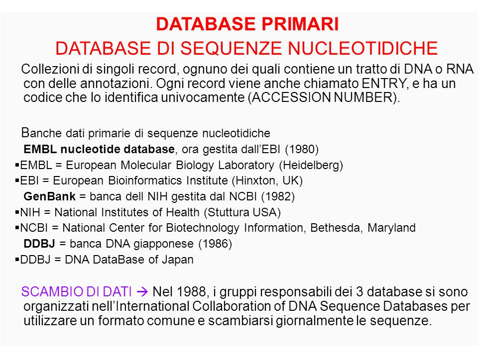 DATABASE DI SEQUENZE NUCLEOTIDICHE
