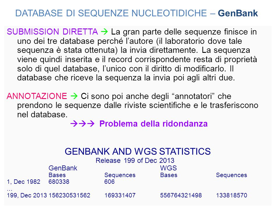DATABASE DI SEQUENZE NUCLEOTIDICHE – GenBank