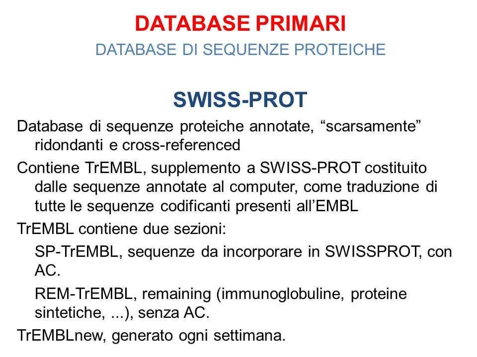 DATABASE DI SEQUENZE PROTEICHE