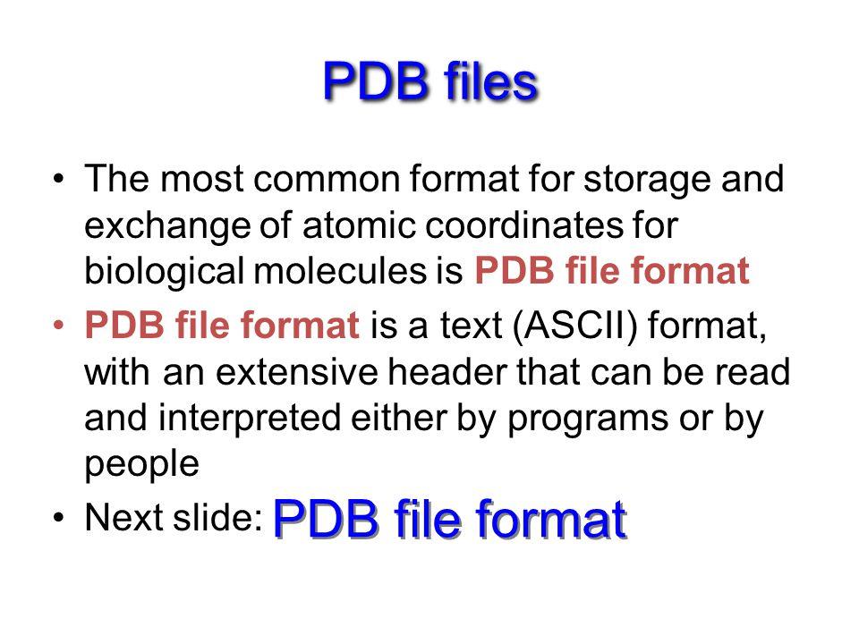 PDB files PDB file format