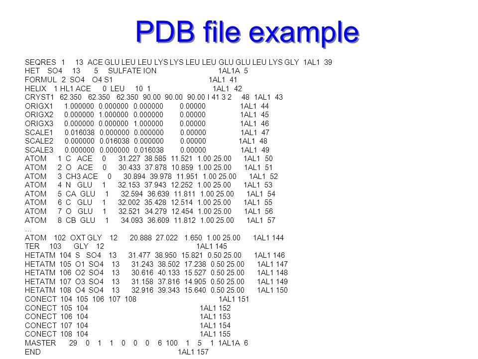PDB file example SEQRES 1 13 ACE GLU LEU LEU LYS LYS LEU LEU GLU GLU LEU LYS GLY 1AL1 39.