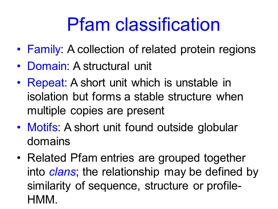 Pfam classification Family: A collection of related protein regions