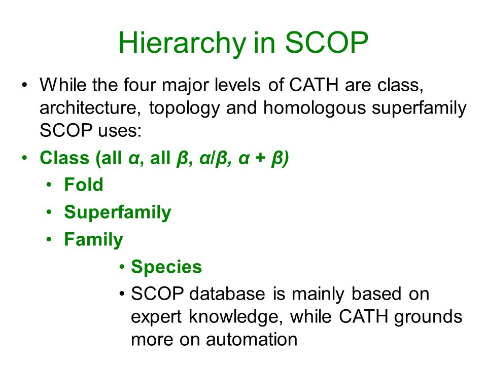 Hierarchy in SCOP While the four major levels of CATH are class, architecture, topology and homologous superfamily SCOP uses: