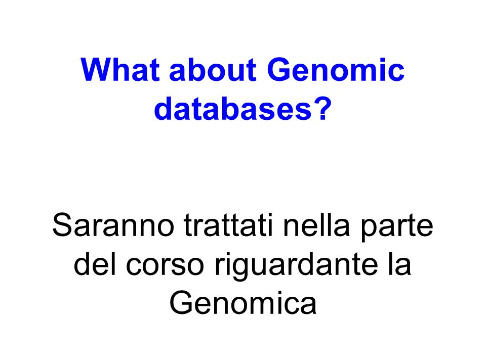 What about Genomic databases