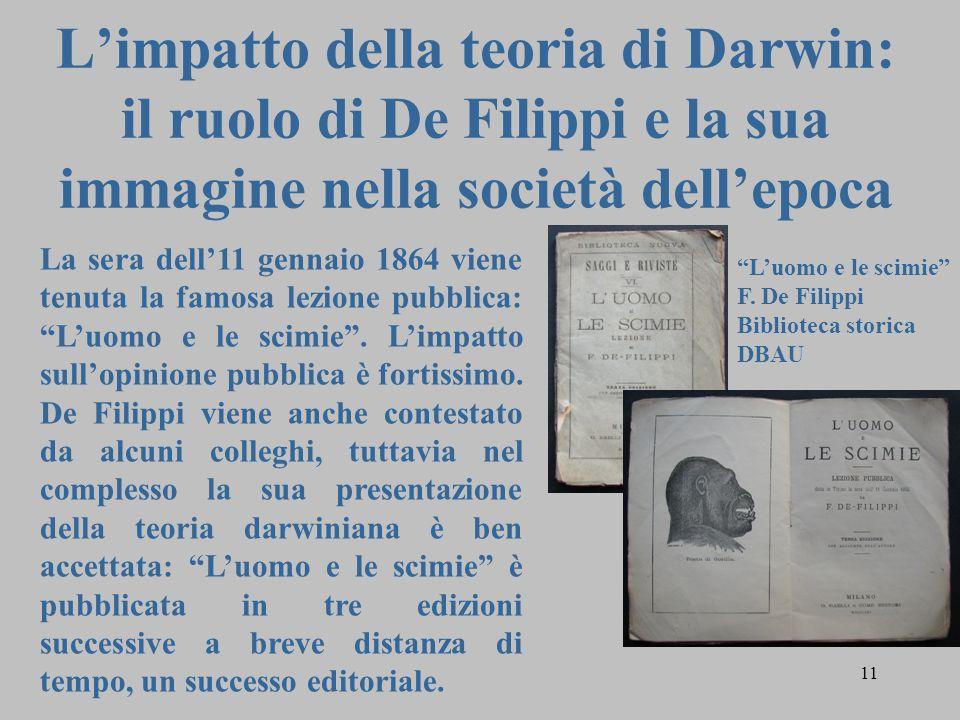 L'impatto della teoria di Darwin: il ruolo di De Filippi e la sua immagine nella società dell'epoca