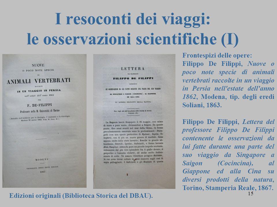 I resoconti dei viaggi: le osservazioni scientifiche (I)