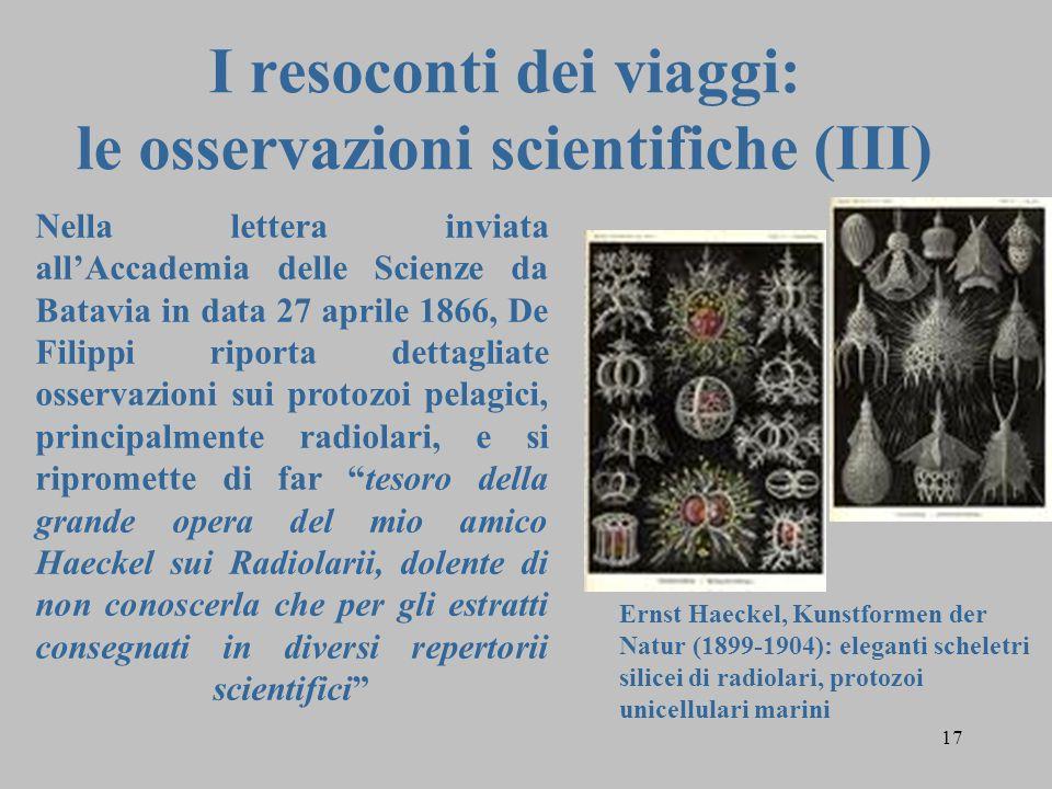 I resoconti dei viaggi: le osservazioni scientifiche (III)