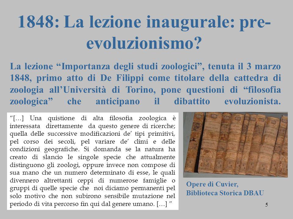 1848: La lezione inaugurale: pre-evoluzionismo