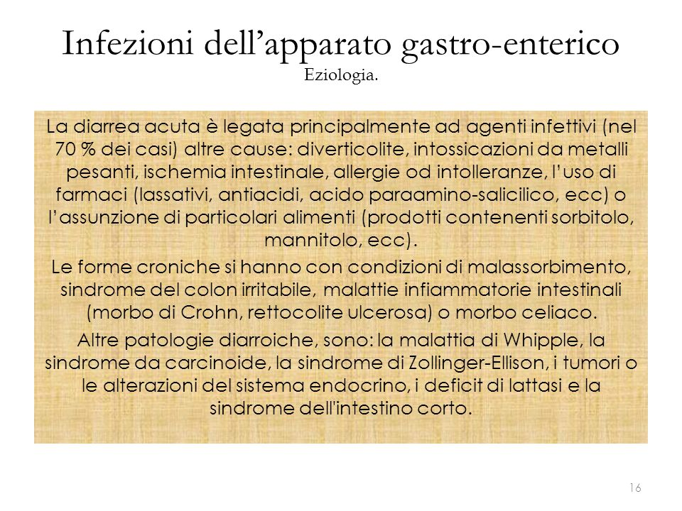 Infezioni dell'apparato gastro-enterico Eziologia.