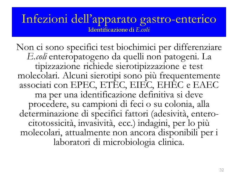 Infezioni dell'apparato gastro-enterico Identificazione di E.coli