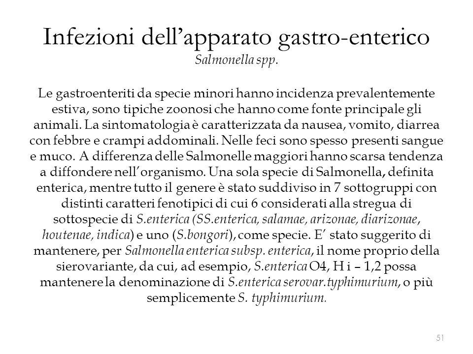 Infezioni dell'apparato gastro-enterico Salmonella spp.