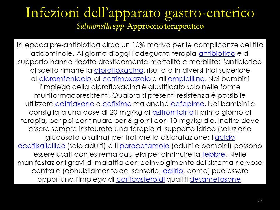 Infezioni dell'apparato gastro-enterico Salmonella spp-Approccio terapeutico