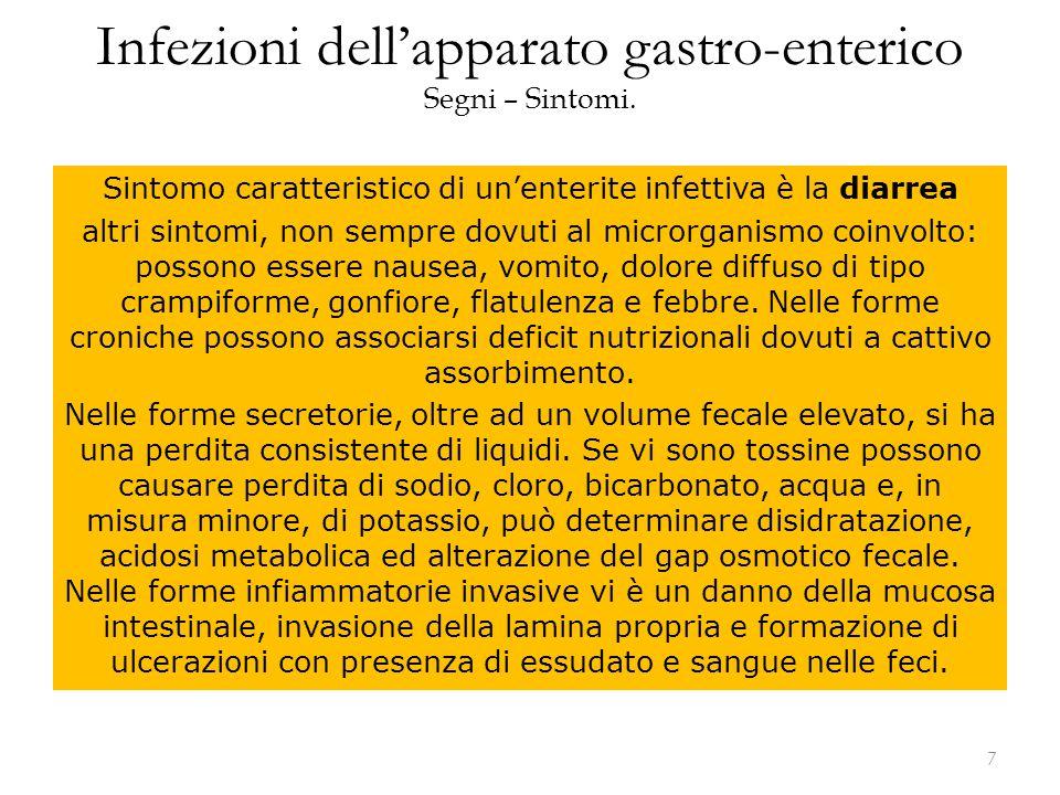 Infezioni dell'apparato gastro-enterico Segni – Sintomi.