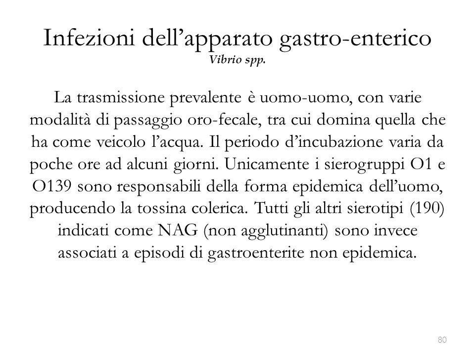 Infezioni dell'apparato gastro-enterico Vibrio spp.