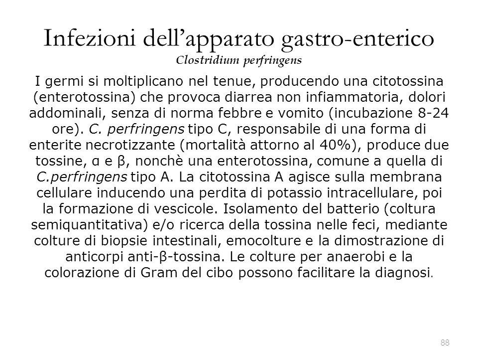 Infezioni dell'apparato gastro-enterico Clostridium perfringens