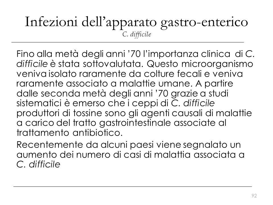 Infezioni dell'apparato gastro-enterico C. difficile