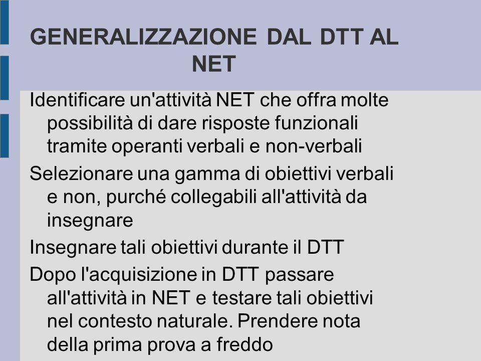 GENERALIZZAZIONE DAL DTT AL NET