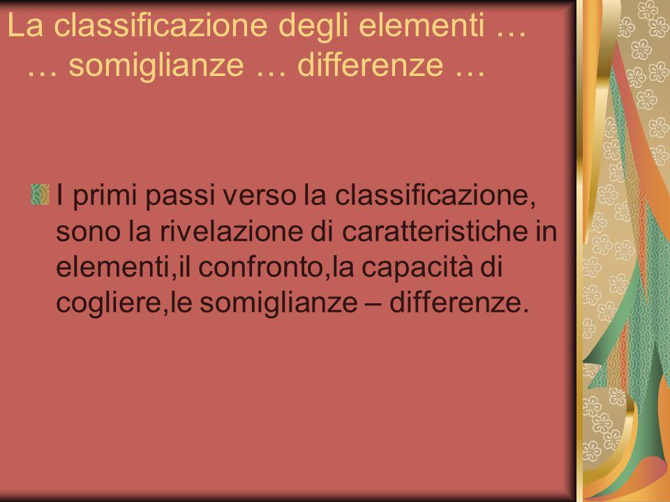 La classificazione degli elementi … … somiglianze … differenze …