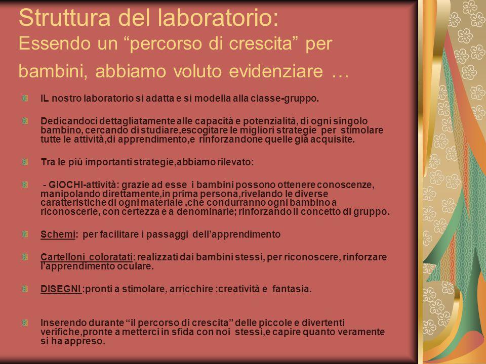 Struttura del laboratorio: Essendo un percorso di crescita per bambini, abbiamo voluto evidenziare …